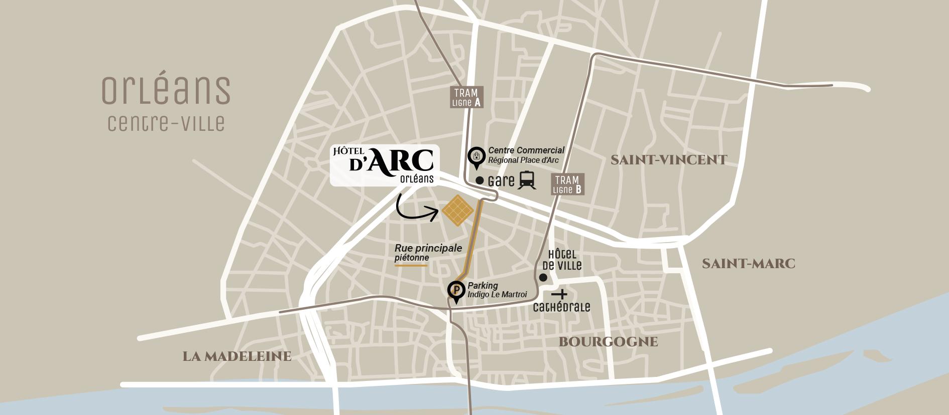Carte Hôtel d'Arc Orléans proche de la gare